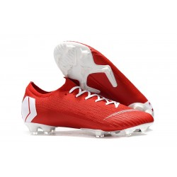 Nouvelle Chaussures de Football Nike Mercurial Vapor 12 Elite FG Rouge Blanc