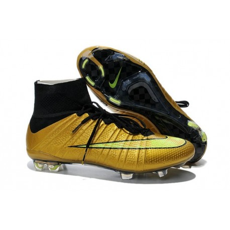 new concept 5d183 af70c Chaussures football MERCURIAL SUPERFLY FG Pas Cher Or Jaune Noir