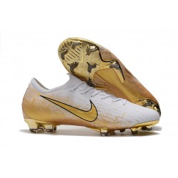 Nouvelle Chaussures de Football Nike Mercurial Vapor 12 Elite FG Blanc Or
