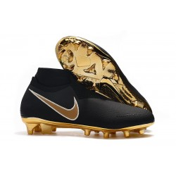 Nike Phantom Vision Elite DF FG Crampons de Foot Noir Or