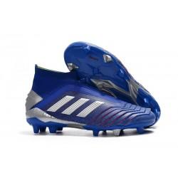 Crampons Nouveau Adidas Predator 19+ FG Bleu Argent