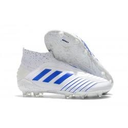 Crampons Nouveau Adidas Predator 19+ FG Blanc Bleu