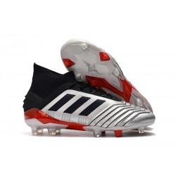Chaussures De Football Adidas Predator 19.1 FG Hommes Argent Noir