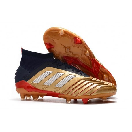 Chaussures De Football Adidas Predator 19.1 FG Or Argent Rouge