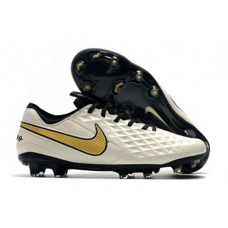 Chaussures de Foot Nike Tiempo Legend 8 Elite FG -Blanc Or Noir