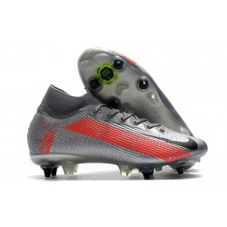 Nike Mercurial Superfly VII Elite DF SG-PRO Gris Noir Rouge