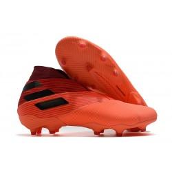 adidas Nemeziz 19+ FG Crampons de Football Corail Noir Rouge Goire
