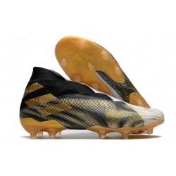 adidas Nemeziz 19+ FG Crampons de Football Blanc Or Metallique Noir