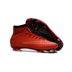 Chaussure de Football Nike Mercurial Superfly CR7 FG Terrain Sec Rouge Noir Or