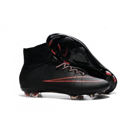 Chaussures football MERCURIAL SUPERFLY FG Pas Cher Rouge Noir