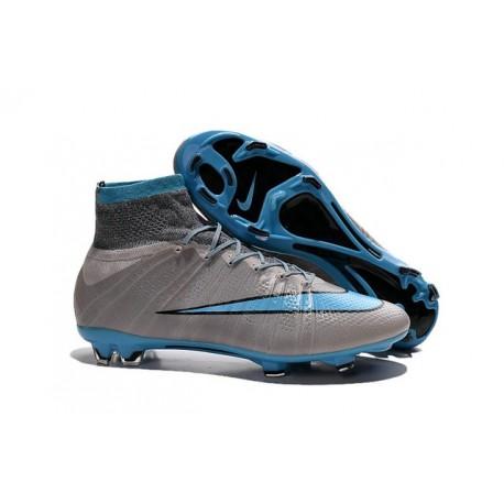 Nike Mercurial Superfly FG Chaussure de Football Homme Bleu Gris Noir