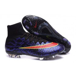 Chaussure de Football Nike Mercurial Superfly CR7 FG Terrain Sec Léopard Violet Noir Rouge
