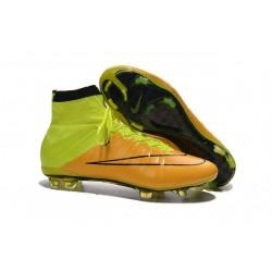 Chaussures football MERCURIAL SUPERFLY FG Pas Cher Cuir Noir Jaune Volt