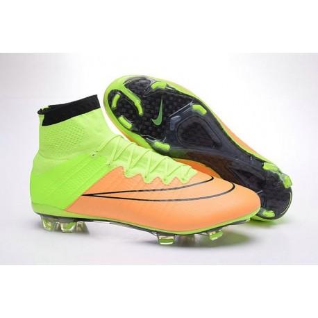 Chaussure de Football Nike Mercurial Superfly CR7 FG Terrain Sec Cuir Beige Noir Volt