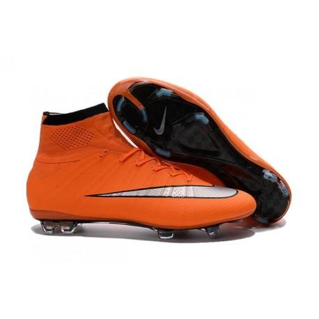 Nouveau 2016 Crampons Nike Mercurial Superfly FG Orange Argenté Noir