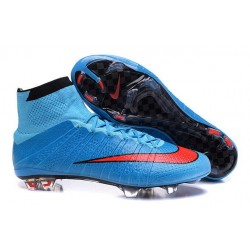 Chaussure de Football Nike Mercurial Superfly CR7 FG Terrain Sec Bleu Rouge Noir