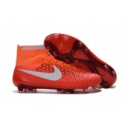 Chaussures de Football Hommes - Nike Magista Obra FG - terrain sec Orange Blanc