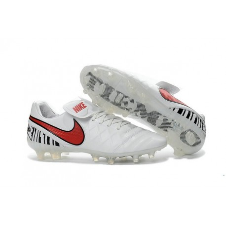 2016 Chaussures Football Tiempo Legend 6 FG Hommes Blanc Rouge