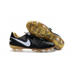 2016 Chaussures Football Tiempo Legend 6 FG Hommes Noir Blanc Or
