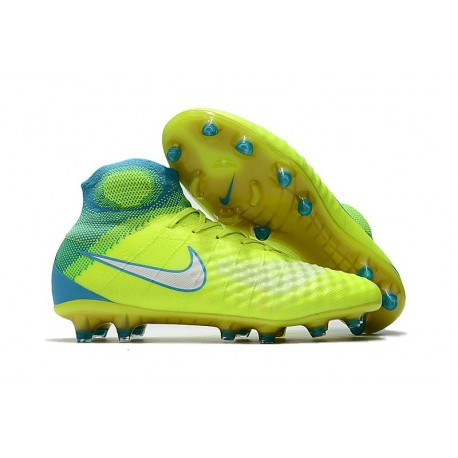 Nouvelles - Nike Magista Obra II FG - Crampons foot Jaune Bleu