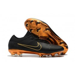 Chaussures de Football Nike - Mercurial Vapor Flyknit Ultra FG Or Noir