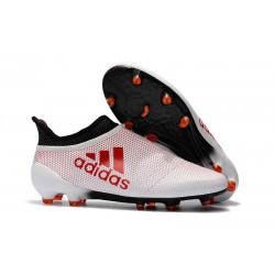 Adidas X 17+ Purespeed FG Crampons pour Hommes Blanc Rouge Noir