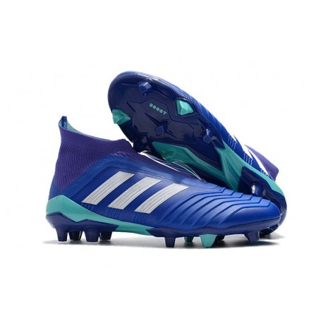 the sale of shoes detailed images limited guantity Chaussures de Football Pas Cher Adidas Predator 18+ FG Bleu Blanc