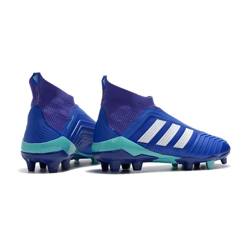 big sale bec61 47903 Chaussures de Football Pas Cher Adidas Predator 18+ FG Bleu Blanc Zoom.  Précédent. Suivant
