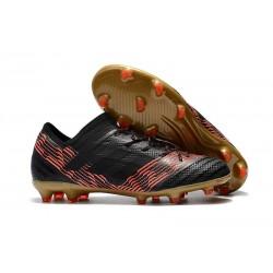 Nouveau Crampons Foot Adidas Nemeziz Messi 17.1 FG Noir Rouge Or