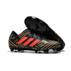 Nouveau Crampons Foot Adidas Nemeziz Messi 17.1 FG Noir Or Orange