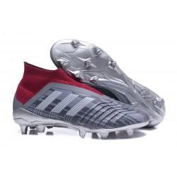 Chaussures de Football Pas Cher Adidas Predator 18+ FG Pogba Gris Rouge
