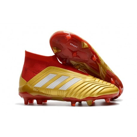 reputable site online store various styles Chaussures de Football Pas Cher Adidas Predator 18+ FG Or Rouge Blanc