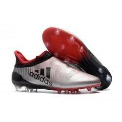 Adidas X 17+ Purespeed FG Crampons pour Hommes Argenté Rouge Noir