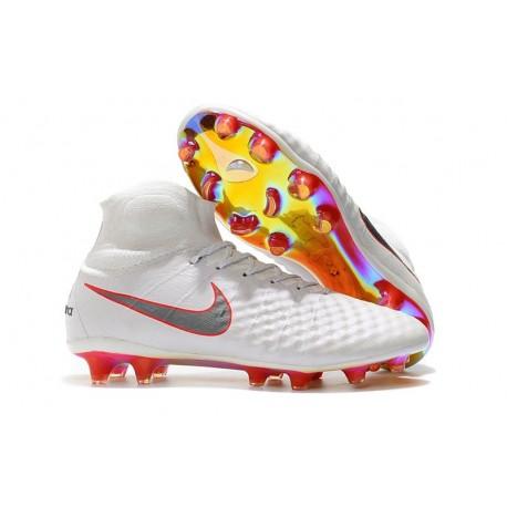 separation shoes 81ea1 a9b9d Nouvelles Chaussure de football Nike Magista Obra 2 FG Blanc Gris  Métallique Carmin