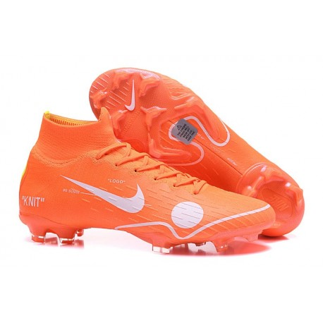 8fa6b714689 Crampons de football Nike Mercurial Superfly VI 360 Elite FG Orange Blanc  Bleu Jaune Off-White ...
