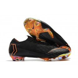 2018 Crampons De Football Nike Mercurial Vapor XII Elite FG Noir Orange Total Blanc