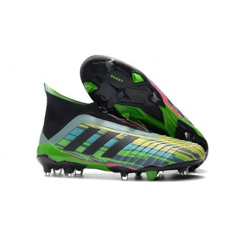 Nouveu Chaussures de Foot 2018 Paul Pogba Adidas Predator 18+ FG Noir Vert Jaune