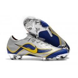 Chaussures de Foot Nike Mercurial Vapor 12 Elite FG Argent Bleu Jaune