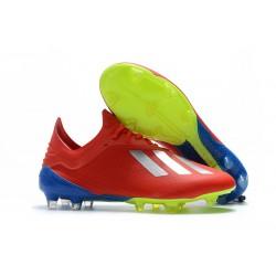 Crampons de football Adidas X 18.1 FG Pour Hommes - Argent Rouge
