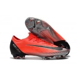 Chaussures de football pour Hommes - Nike Mercurial Vapor 12 Elite FG Rouge ArgentÉ CR7