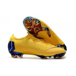 Chaussures de football pour Hommes - Nike Mercurial Vapor 12 Elite FG Jaune Bleu