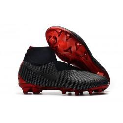 Chaussures Nike Phantom Vision Elite DF FG pour Hommes Jordan X PSG Noir Rouge