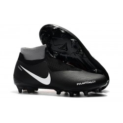 Chaussures Nike Phantom Vision Elite DF FG pour Hommes Noir Rouge Blanc