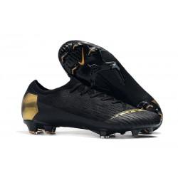 Chaussures de football pour Hommes - Nike Mercurial Vapor 12 Elite FG Or Noir