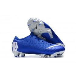 Chaussures de football pour Hommes - Nike Mercurial Vapor 12 Elite FG Noir Argent Bleu Racer